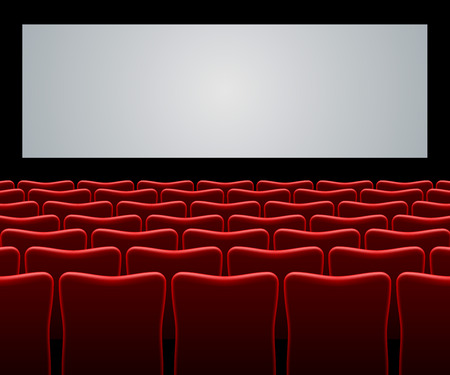 screen: Movie hall with red seats and blank screen vector background.