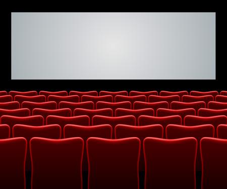 Movie zaal met rode stoelen en leeg scherm vector achtergrond.