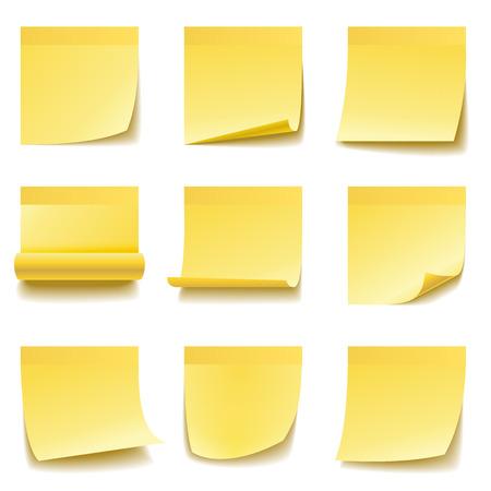 Żółte karteczki na białym tle. Ilustracje wektorowe