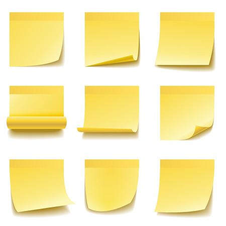 yellow tacks: Yellow sticky notes isolated on white background.