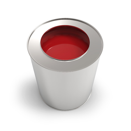 Metal bucket with red paint isolated on white background.