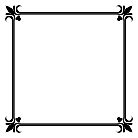 Black and white vintage frame vector template. Vector
