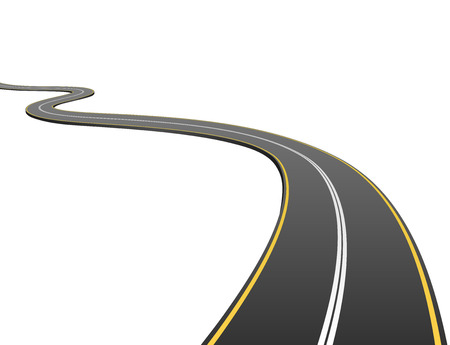 winding road: Abstract asphalt road going to the distance isolated on white background.