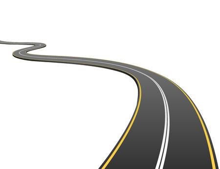 route: Résumé route asphaltée va à la distance isolé sur fond blanc.