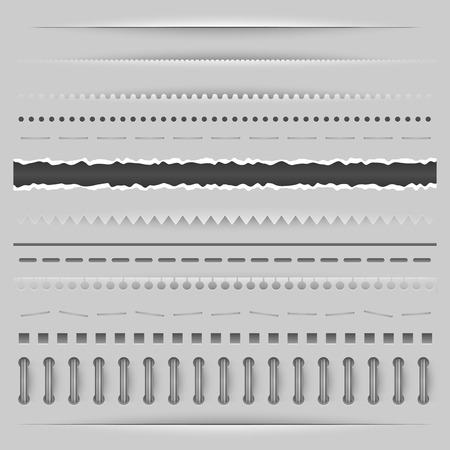 Paper cut, torn and perforation dividers vector template. Vector