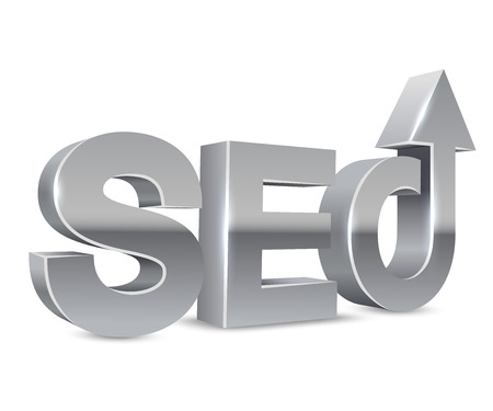 chrome letters: SEO chrome 3D letters concept isolated on white background. Illustration
