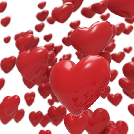 Glossy 3D red hearts background. photo