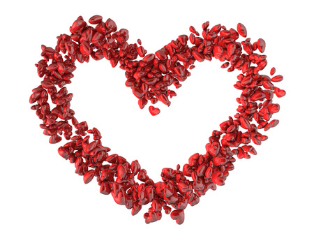 Big heart shape made of small red hearts Valentines day background. photo