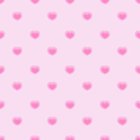 pinky: Pink seamless polka hearts vector pattern.