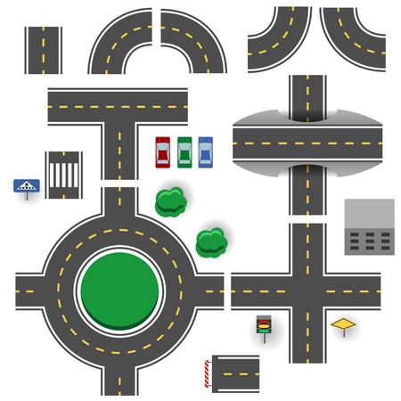 상단: 아스팔트 도로 계획 부품 벡터 템플릿.