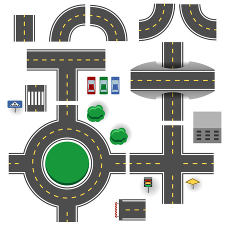 cars on the road: Asphalt road plan parts vector template.