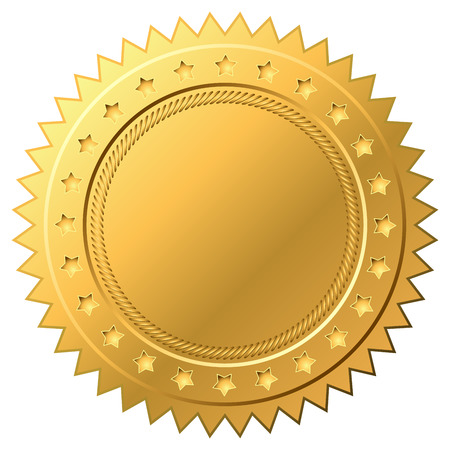 Blank golden label vector template isolated on white background.