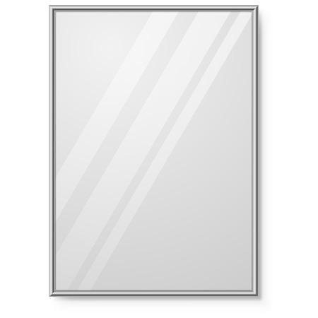 cromo: Espejo con marco cromado en la plantilla de la pared vector. Vectores