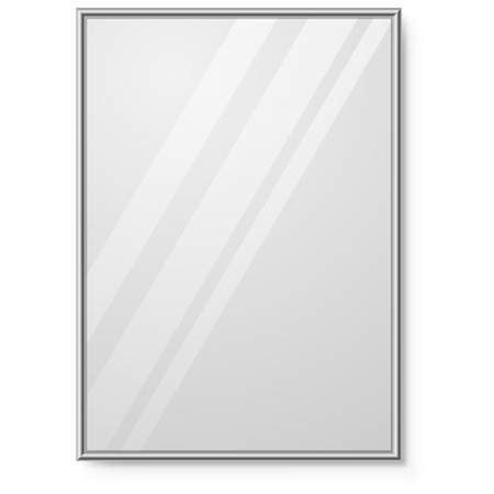 mirror on wall: Mirror with chrome frame on the wall vector template.