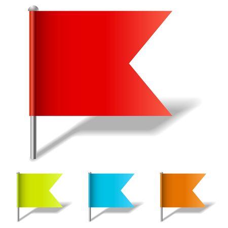 bandera blanca: Color de la plantilla de vectores pin de la bandera aislado en fondo blanco.