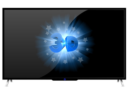 televisor: Modern TV set with 3D sign isolated on white background.