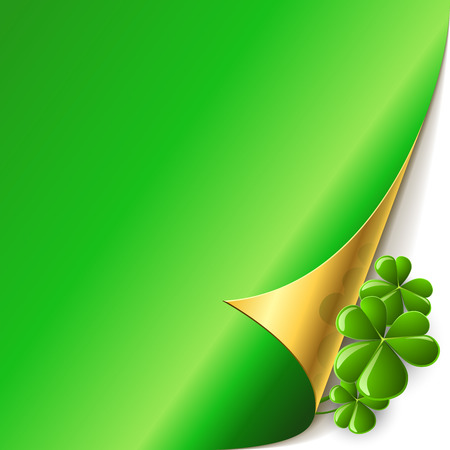 Green page corner with shamrock leaves St. Patricks Day vector card. Vector