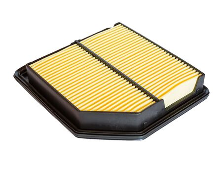 air filter: New air filter for the car engine supply system isolated on white backgroound. Stock Photo