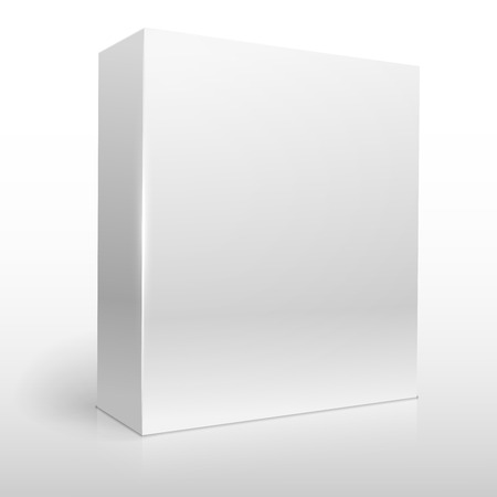 grayscale: Blank white software box vector template.