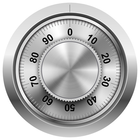 Chrome safe combination lock wheel vector template. Stock Illustratie