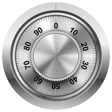 Chrome safe combination lock wheel vector template. Illustration