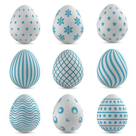 부활절 달걀 벡터 파란색 패턴을 사용 하여 설정합니다. 일러스트