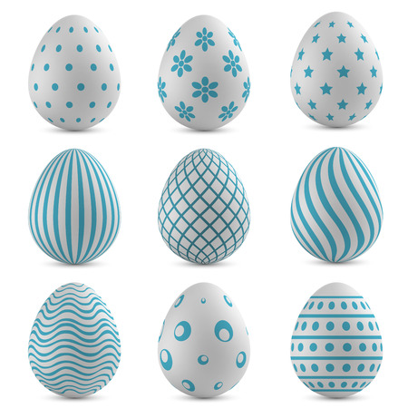 Easter eggs vector set with blue patterns.