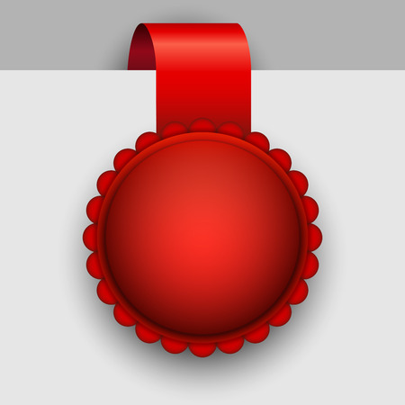 award ribbon rosette: Blank red rosette tag vector template.