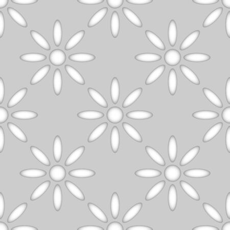 continued: Seamless abstract flower shapes paper cut vector pattern.