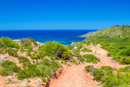 cami: Cami de Cavalls path in sunny day at Menorca, Spain. Stock Photo