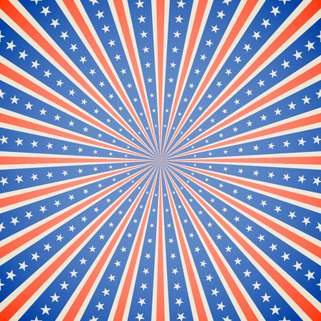 July 4 Independence Day white red and blue burst vector background.