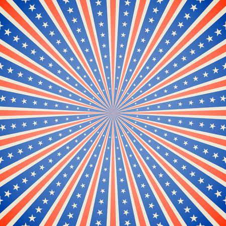 7 月 4 日独立記念日白赤と青バースト ベクター背景。  イラスト・ベクター素材