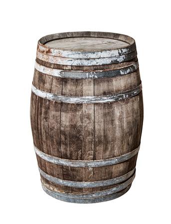 Vintage oak cask isolated on white background.
