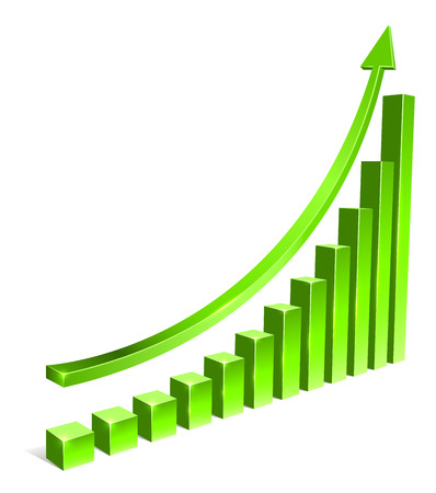 up arrow: Green bar increasing graph with arrow vector template.