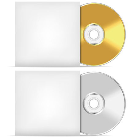compact disc: Blank CD or DVD advertising vector template.