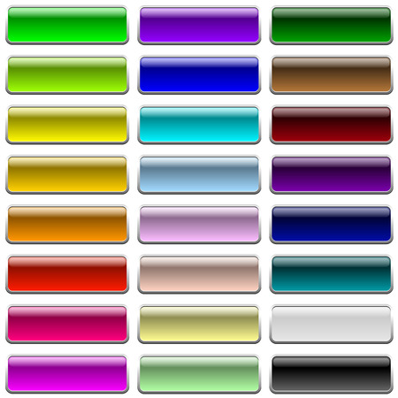 rectangle button: Blank color web buttons isolated on white background.