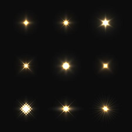 amarillo y negro: Conjunto de llamaradas de la lente del vector aislados sobre fondo negro.
