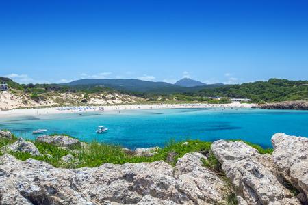 beaches of spain: Arenal de Son Saura beach at Menorca island, Spain.