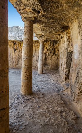 frescoed: Interior of the Paphos necropolis known as Tombs of the Kings, Cyprus. Stock Photo