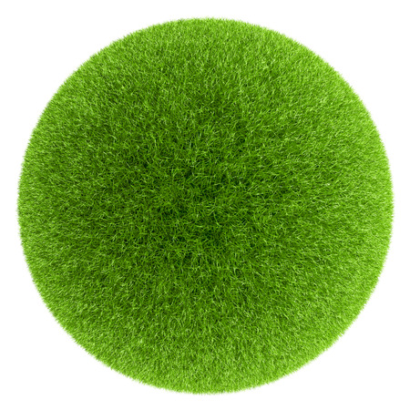 green grass: Sphere covered with green grass isolated on white background. Stock Photo