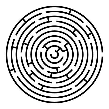 Black and white round maze vector template isolated on white background.