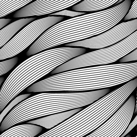 funky: Seamless wavy line leaves vector pattern.