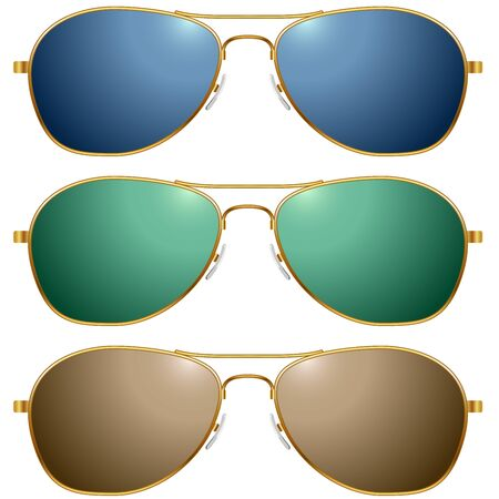 eyepiece: Color sunglasses vector set isolated on white background.