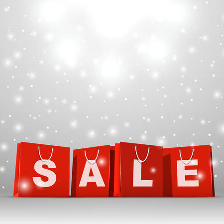 red paper: Christmas sale red paper shopping bags vector template.