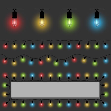 christmas isolated: Color fairy lights vector template with examples of usage.