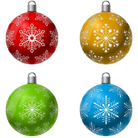 decoration: Color Christmas decoration ball vector set with snowflake shape pattern. Illustration