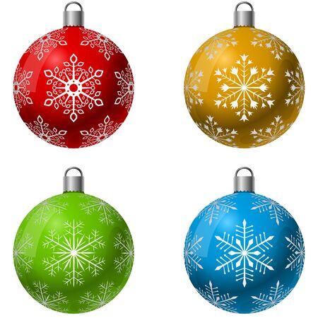 dekoration: Farbe Weihnachtsdekoration Ball Vektor mit Schneeflocke Form Muster-Set.