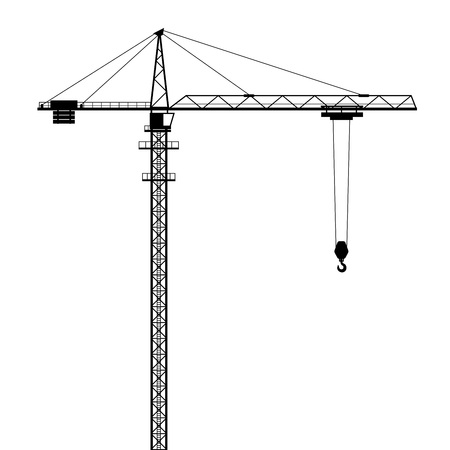 construction machines: Tower crane vector shape isolated on white background.