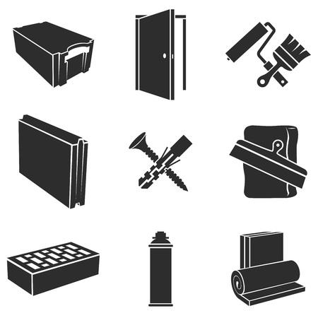 material de vidrio: Materiales de construcción blanco y negro iconos conjunto de vectores.