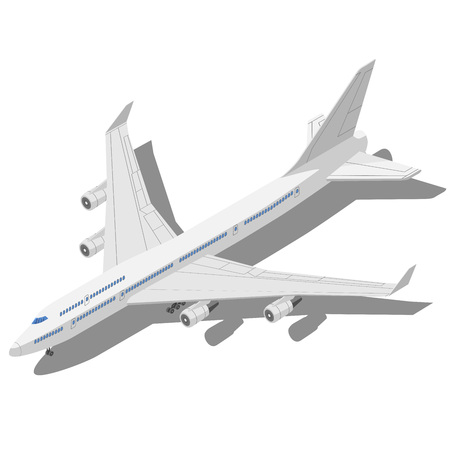 aircraft: Civil aircraft Isometric vector illustration isolated on white background.